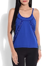 Royal Blue Sleeveless Embellished Top - By