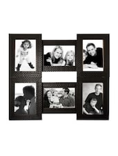 Black Faux Wood Collage Photo Frame For 6 Photos - By