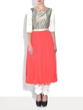 Pink Georgette Patch Worked Three Quarter Sleeves Anarkali - By