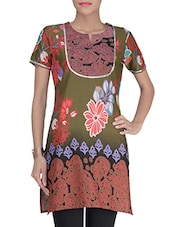 Green Cotton Floral Printed Kurti - By