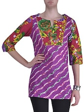 Purple Poly Cotton Printed Kurta - By