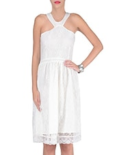 White Cotton And Nylon Solids Fit Dress - By