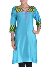 Blue Cotton Blend Printed Kurti - By