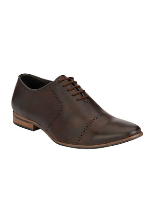 brown leatherette lace up oxford -  online shopping for Oxfords