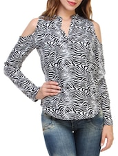 black printed crepe regular top -  online shopping for Tops