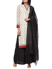 White Hand Block Printed Chanderi Kurta - By