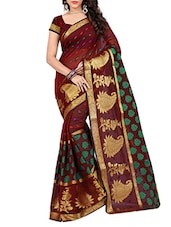Maroon cotton woven saree -  online shopping for Sarees