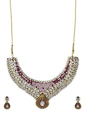 White And Magenta Stone Kundan Inspired Necklace Set - By