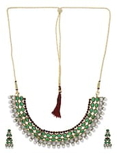 Green And White Stone Studded Necklace Set - By