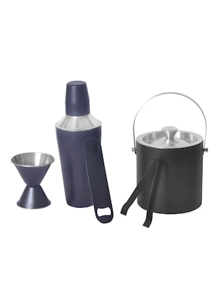 5 pc Black Color bar set - Cocktail Shaker, Double sided Peg measure, Double wall Ice bucket, Ice Tong and Bottle Opener -  online shopping for Bar Sets