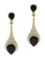 Gold And White Pearl Embellished Drop Earrings - By