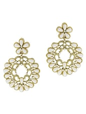 Gold And White Pearl Embellished Drop Earrings - By - 1300602