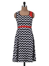 Black And White Polyester Chevron Print Dress - By