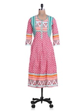 Printe Red And White Cotton Anarkali Kurta - By