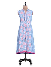 Printed Blue And Pink Cotton Kurta - By