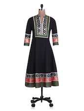 Black Cotton Anarkali Kurta With Mirror Work - By