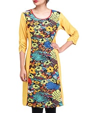 Yellow Cotton Floral Printed Kurti - By