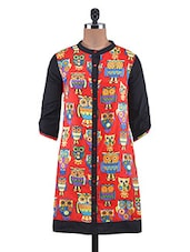 Red Cotton Owl Printed High Neck Kurti - By