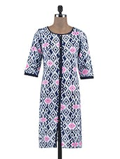 Blue Cotton Block Print Kurti - By