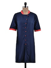 Blue Rayon Plain Kurta - By