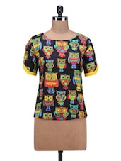Black Cotton Owl Printed Top - By