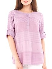 Solid Mauve Cotton Top With Cutwork - By