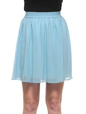 Sky Blue Poly Georgette Polka Dots Skirt - By