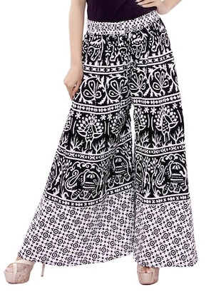 black rayon printed palazzo -  online shopping for Palazzos