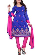 Blue Chanderi Cotton Embroidered Unstitched Suit Set - By