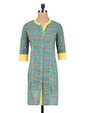Blue Cotton Floral Print Kurti - By