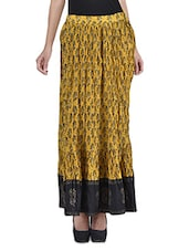 Yellow Cotton Printed Flared Skirt - By