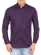 purple cotton printed casual shirt -  online shopping for casual shirts