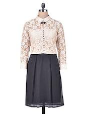 Beige Lace Shirt Dress - By