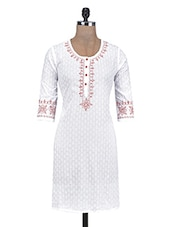 White Cotton Embroidered Printed Kurti - By