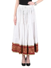 Golden Foil Cotton Printed Zari Worked Skirt - By