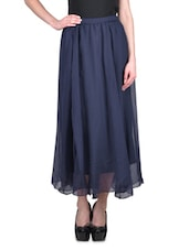 Solid Navy Blue Chiffon Sheer Skirt - By