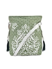 Green Canvas Printed Beaded Bag - By