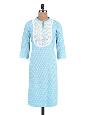 Turquoise Cotton Printed Kurti - By
