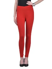 Red  Viscose Lycra Leggings - By