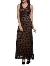 Black And Golden Lace Polyester Maxi Dress - By