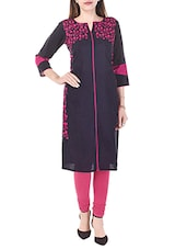 blue cotton blend embroidered straight kurta -  online shopping for kurtas