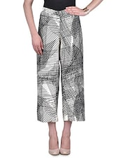 White And Black Poly Crepe Printed Palazzo - By
