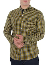 mustard yellow cotton checked casual shirt -  online shopping for casual shirts
