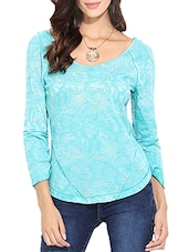 blue printed cotton regular top -  online shopping for Tops