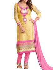 Yellow And Pink Embroidered Cotton Blend Unstitched Suit Set - By