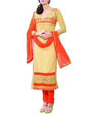 Beige And Orange Embroidered Georgette Unstitched Suit Set - By