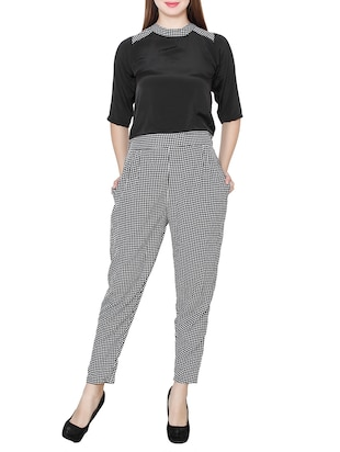 black checkered crepe jumpsuit -  online shopping for Jumpsuits