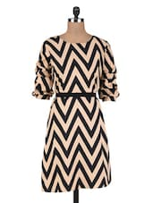 Black And Beige Polycrepe Printed Dress - By