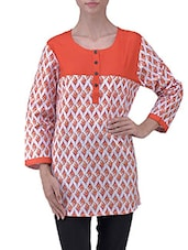 Red Cotton Printed Long Sleeves Kurti - By