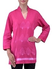 Pink Cotton Printed Three Quarter Sleeves Kurti - By